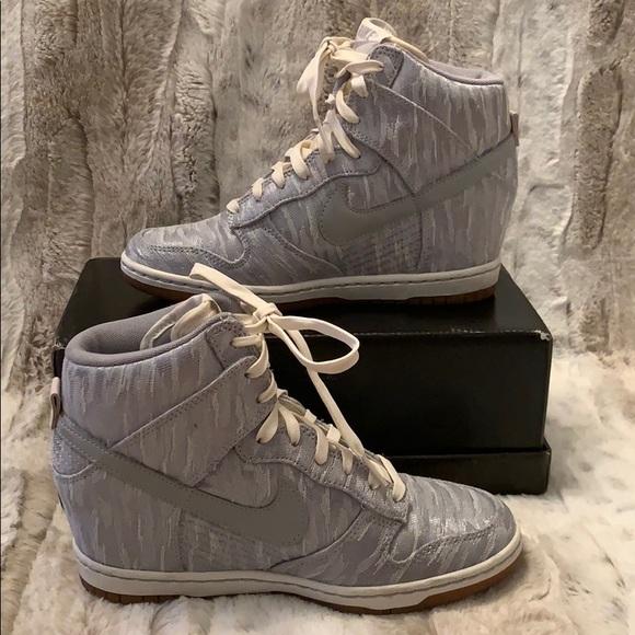 Nike Dunk Sky High Silver wedge sneaker
